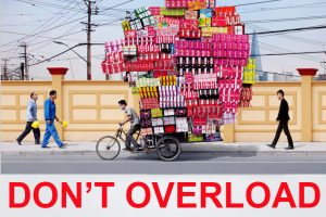 dont overload when moving heavy machinery